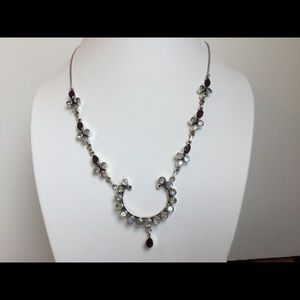 NWT Moonstone Garnet 925 Sterling Silver Necklace